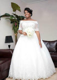 Cheap A Line Off The Shoulder Lace 2020 Half Sleeves Wedding Dresses
