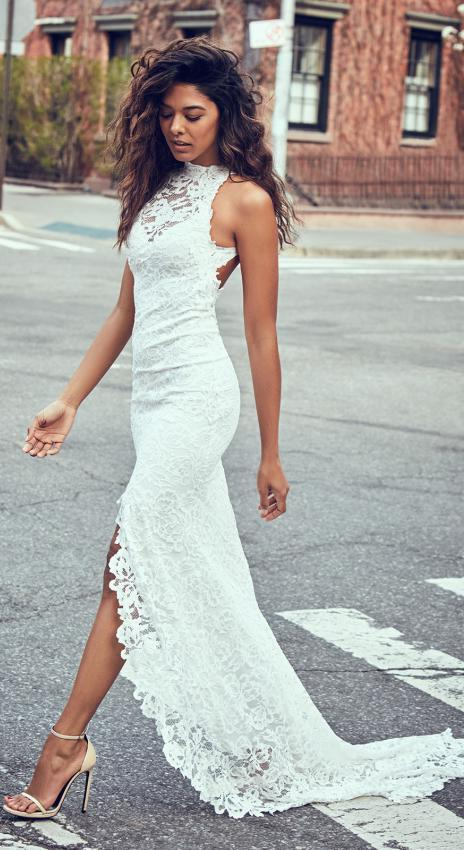 2020 Newly Sheath Lace Slit High Neck Wedding Dresses / Gowns