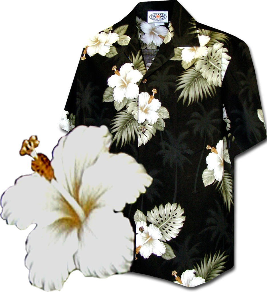 Hawaiian shirt - black hibiscus