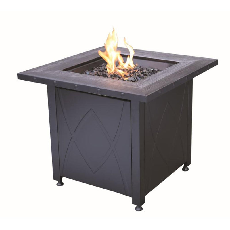 "BLUE RHINO 33"" SQUARE REGAL PROPANE FIREPIT WITH FAUX STONE MANTEL"