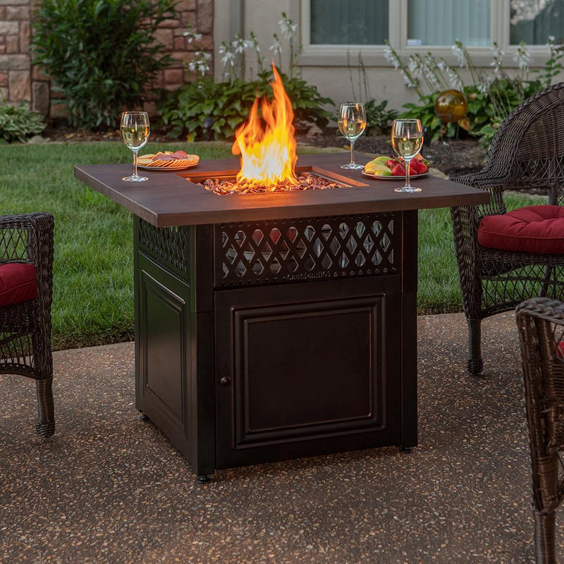 "BLUE RHINO 37"" SQUARE DONOVAN PROPANE FIREPIT WITH MANTEL AND STEEL BASE"