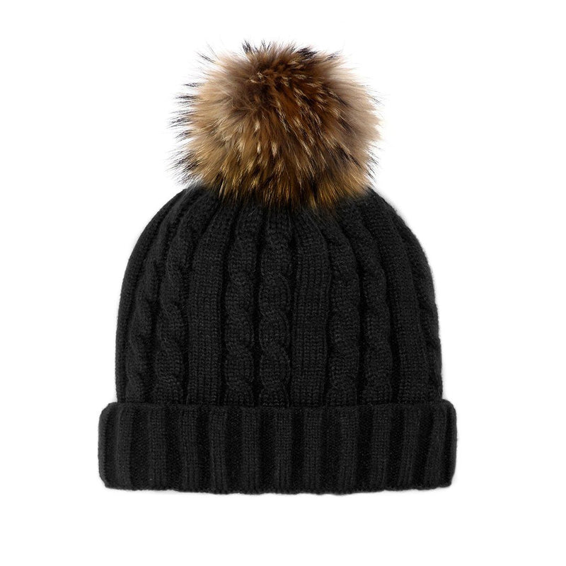 MITCHIES WOMEN'S CABLE KNIT BEANIE WITH FOX POM