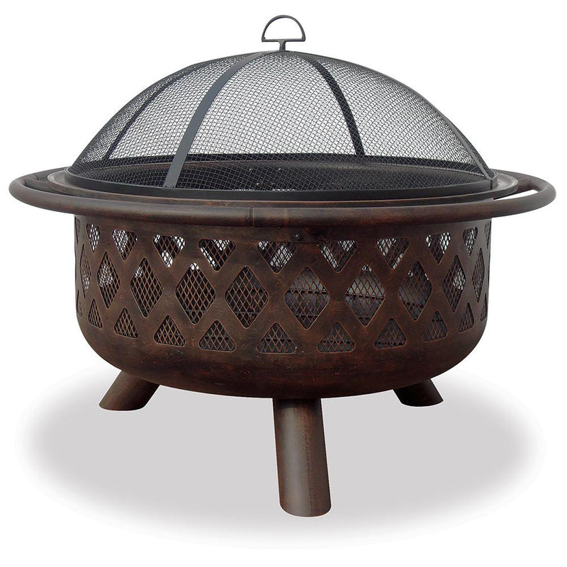 "BLUE RHINO OIL RUBBED WOOD BURNING FIREPIT 36"" LATTICE DESIGN"