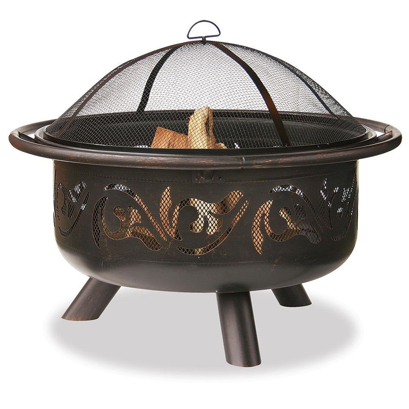 "BLUE RHINO OIL RUBBED WOOD BURNING FIREPIT 36"" SWIRL DESIGN"