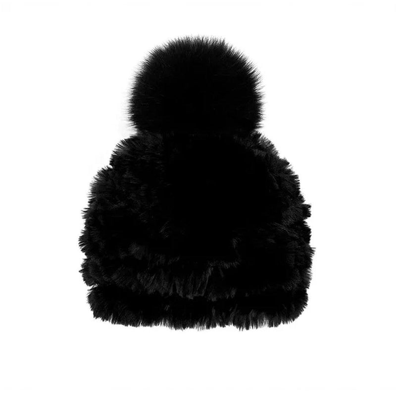 MITCHIE'S WOMEN'S KNITTED RABBIT FUR BEANIE WITH FOX FUR POM