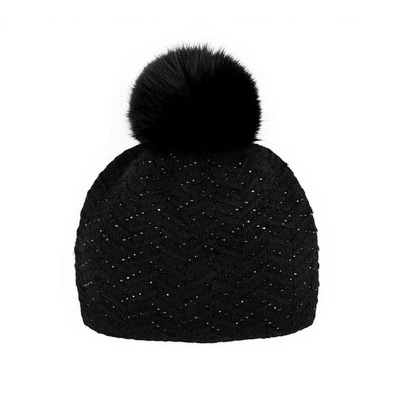 MITCHIE'S WOMEN'S SPARKLE HAT WITH FOX FUR POM