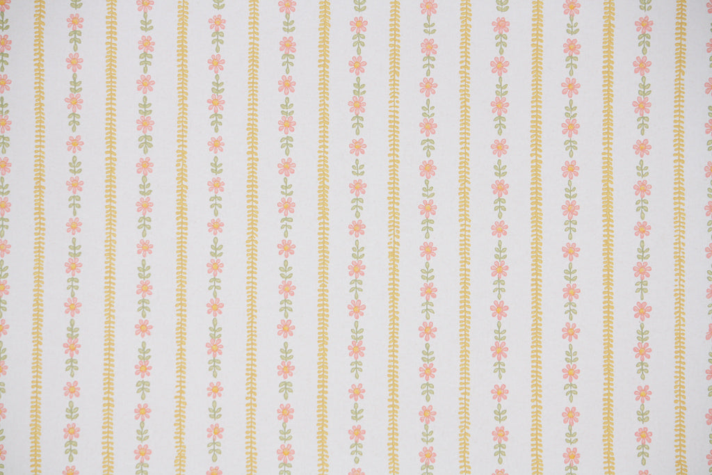 1960s Floral Stripe Vintage Wallpaper