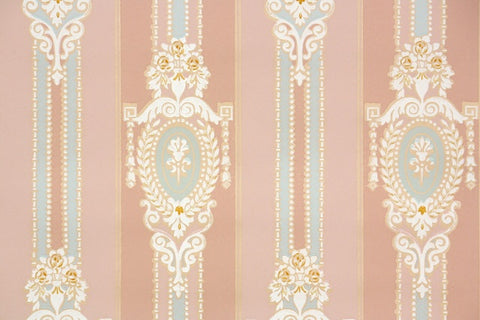 1940s Damask Stripe Vintage Wallpaper