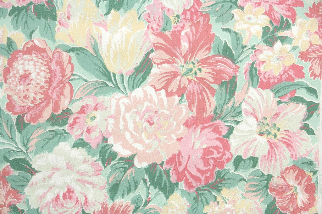 1950s floral vintage wallpaper hannah 39 s treasures for Wallpaper home vintage