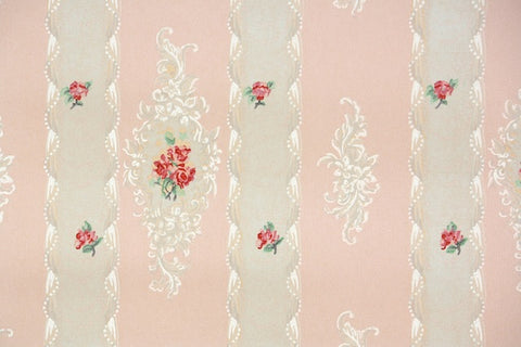 1930s Floral Stripe Vintage Wallpaper