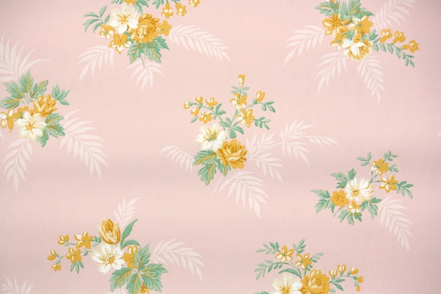 Blue Yellow Floral Digital Vintage Wallpaper for Instant Download 1930s Antique Wallpaper Design from Hannah/'s Treasures Collection