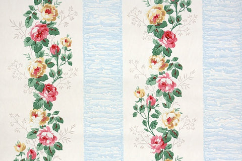 1940s Floral Stripe Vintage Wallpaper