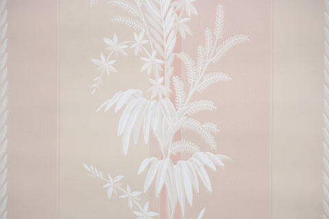 1940s Botanical Stripe Vintage Wallpaper