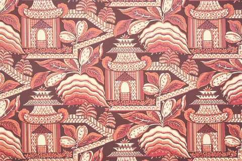1970s Scenic Hand-Print Vintage Wallpaper