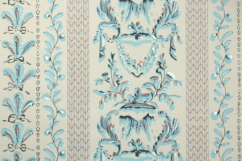 1950s Botanical Stripe Vintage Wallpaper