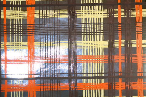 1970s Plaid Mylar Vintage Wallpaper