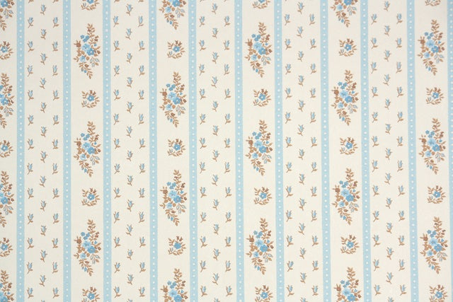 1970s Floral Stripe Vintage Wallpaper