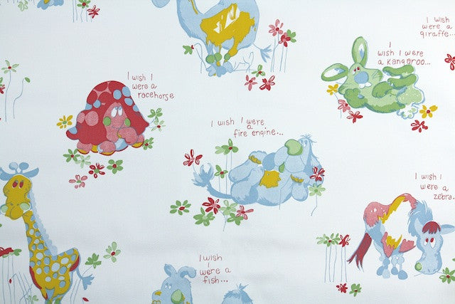 1970s Childrens Vinyl Vintage Wallpaper