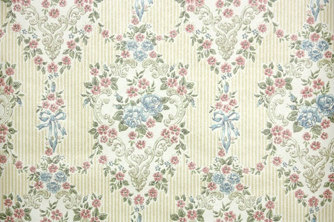 1970s Floral Damask Vintage Wallpaper