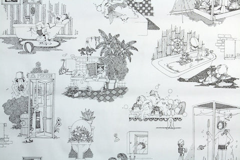 1970s Bathroom Vinyl Vintage Wallpaper