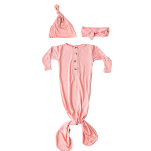 Knotted Baby Gown and Hat Set - Pink