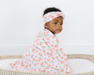 Matching Swaddle & Knotted Headband - 6 Floral Styles