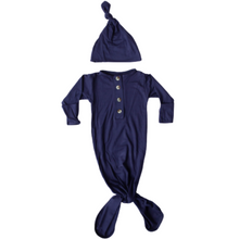 Load image into Gallery viewer, Knotted Baby Gown and Hat Set - Navy