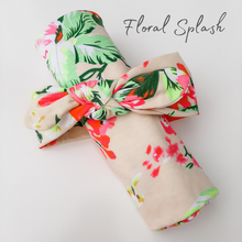 Load image into Gallery viewer, Matching Swaddle & Knotted Headband - 6 Floral Styles