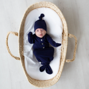 Knotted Baby Gown and Hat Set - Navy
