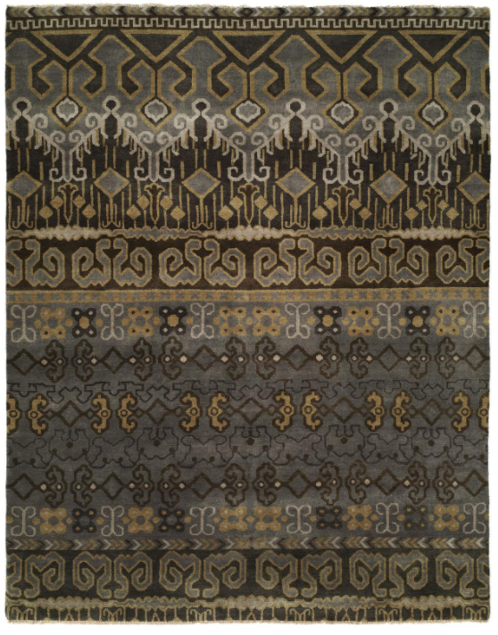 Guild 055 Slate Grey / Brown Handknotted Rug