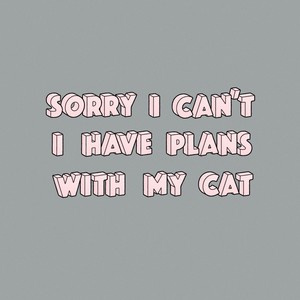 Sorry I Can't, I Have Plans With My Cat Grey Women's Poncho Tee