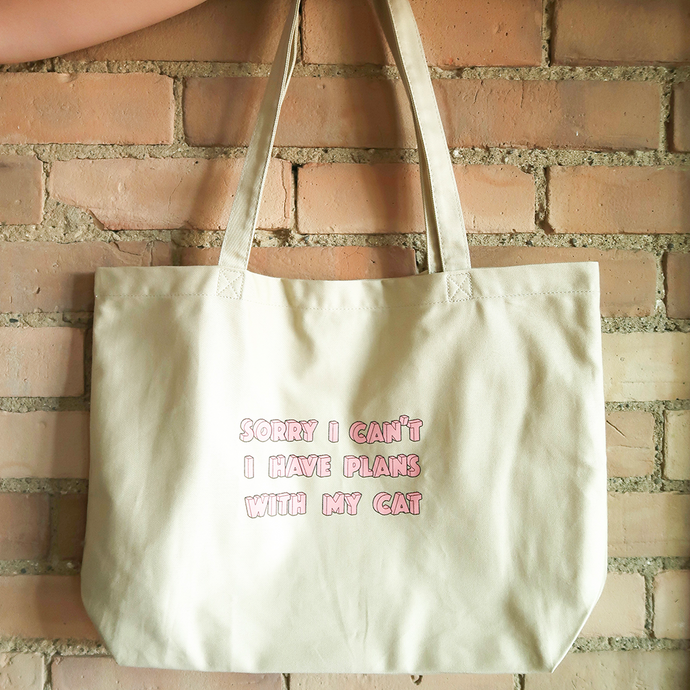 Sorry I Can't, I Have Plans With My Cat Natural Tote Bag