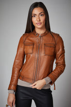 Load image into Gallery viewer, Cognac Leather Jacket