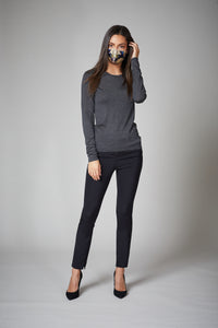 Heather Grey Cashmere Crewneck Sweater