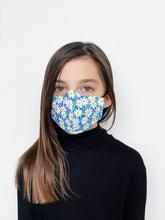 "Load image into Gallery viewer, ""Blue Daisy"" Kid's Face Mask"