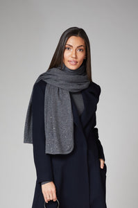 Heather Grey Crystal Cashmere Shawl