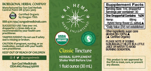 Sun God Hemp Tincture, Classic Green Dragon - 1,000mg, 1oz