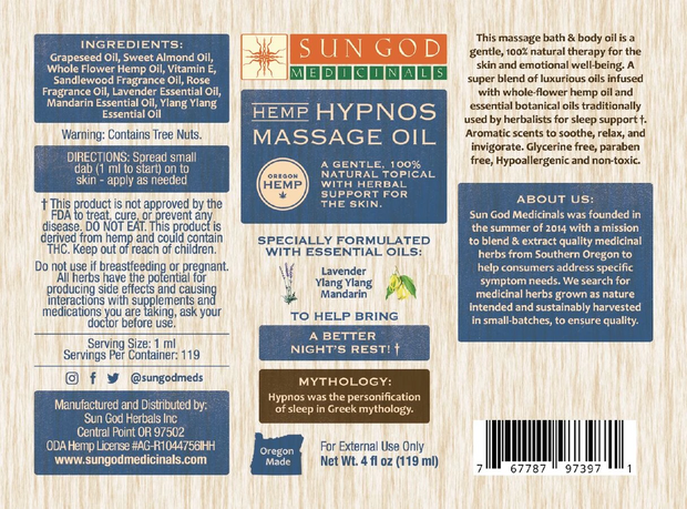 Sun God Hemp Massage Oil, Hypnos - 200mg, 4oz