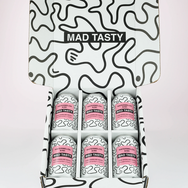 Mad Tasty Hemp Infused Sparkling Water, Watermelon Kiwi 20mg - 6 Pack, 12oz