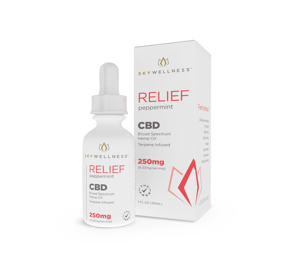Sky Wellness Broad Spectrum Tincture Relief 250mg 1oz from CBD Emporium