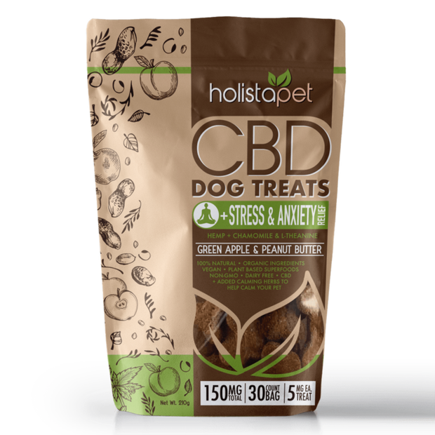 Holistapet CBD Dog Treats, Stress & Anxiety Relief - 150mg, 30ct