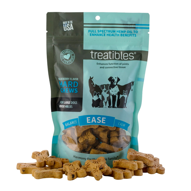Treatibles Hard Chews, Blueberry Flavor (Ease) - Canine, Large-CBD Emporium