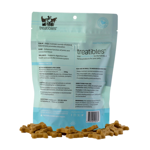 Treatibles Hard Chews, Blueberry Flavor (Ease) - Canine, Small