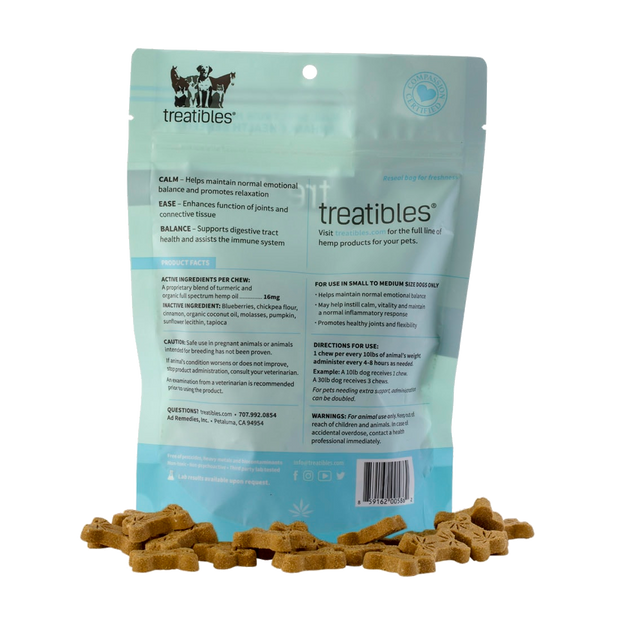 Treatibles Hard Chews, Blueberry Flavor (Ease) - Canine, Small-CBD Emporium