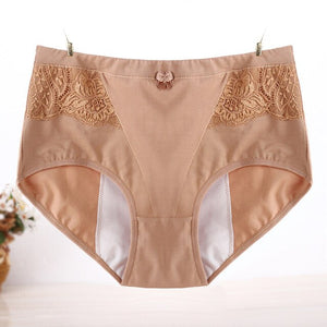 Plus Size Lace High Waist Cotton Panties Women Big Size Period Underwear Physiological Briefs Leak Proof Menstrual Pants Female