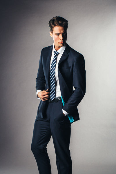 Navy blue affordable hand made suit
