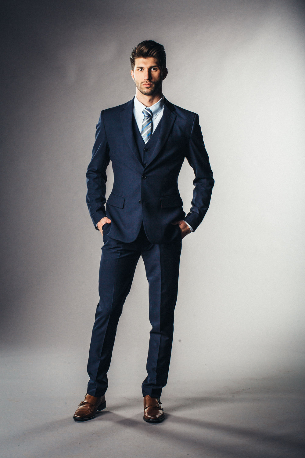 Dark navy blue mens suit