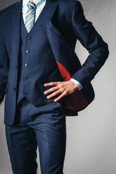 Dark navy blue mens suit with accent custom lining
