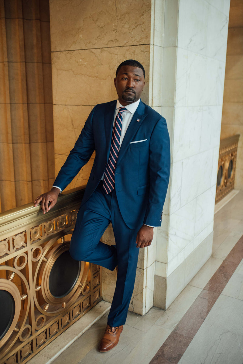 Terrence UpChurch in Self-Made Suit at City Hall