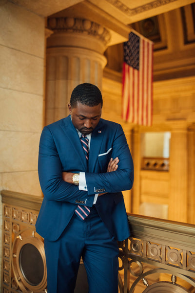 Terrence UpChurch in blue Self-Made suit at city hall Cleveland
